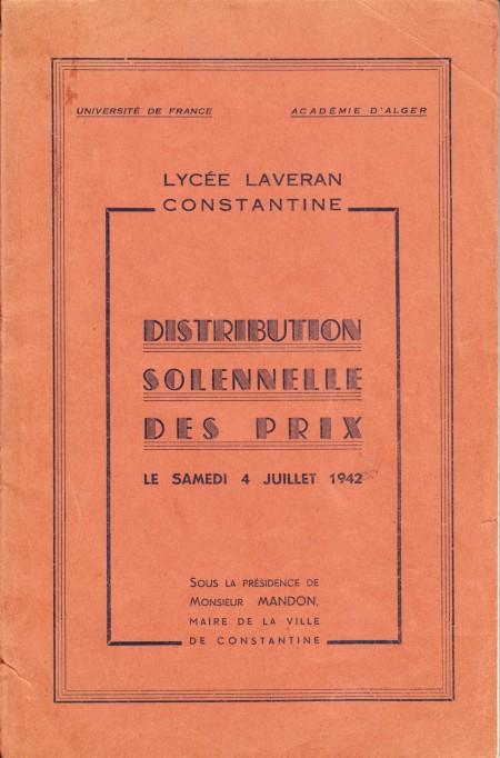 Accès à Palmarès Laveran 1942 complet