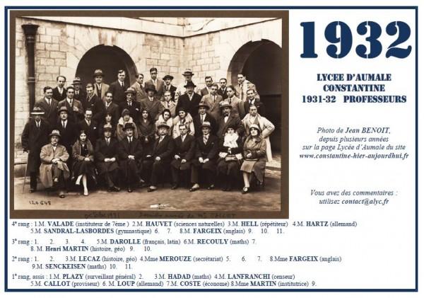 Aumale-1931-32-Partie du corps professoral