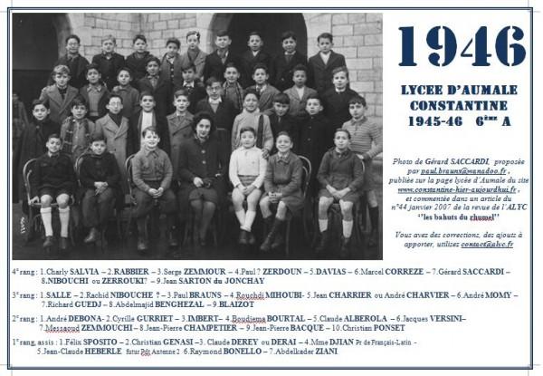 Une-A-1945-46-6èmeA-JC Heberle-P Brauns-G Saccardi