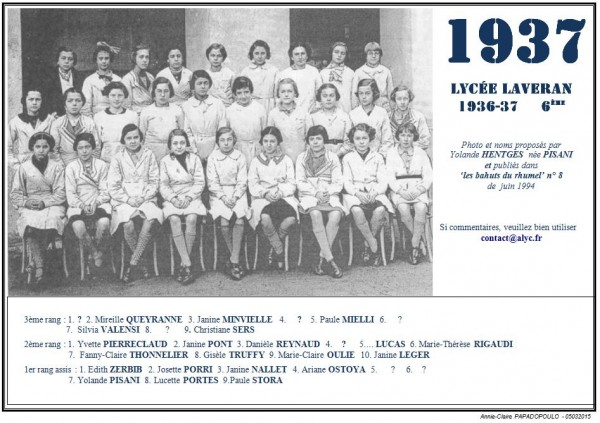Une-L-1937-6e-Bahuts-8-Yolande HENTGES née PISANI