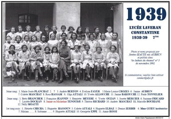 Une-L-1939-7e-Bahuts-5-Janine IZAUTE née AUBRUN