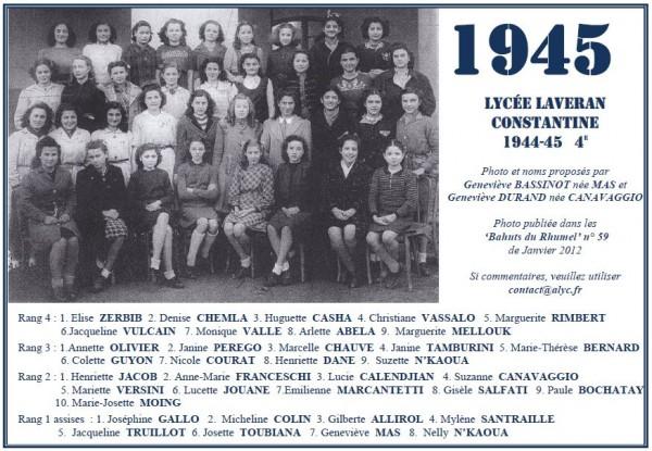 Une-L-1944-45-4e -Bahuts-59-Mas - Canavaggio