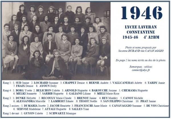 Une-L-1945-46-4e A2BM-Geneviève DURAND née CANAVAGGIO