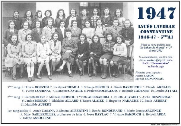 Une-L-1946-47-5e A1-Bahuts n° 27-mai-2001