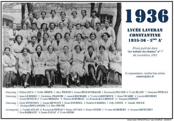 Une-Laveran-1935-36-3e A'-Bahuts n° 7-nov-1993