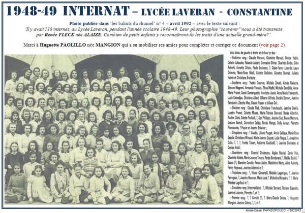 Une-Laveran-1948-49-Internat-Bahuts 4-Renée FLECK née ALAIZE-