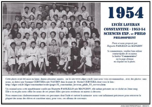 Une-Laveran-1953-54-Philo-Huguette-MANGION-Alger-roi-Suzanne-NAUDIN
