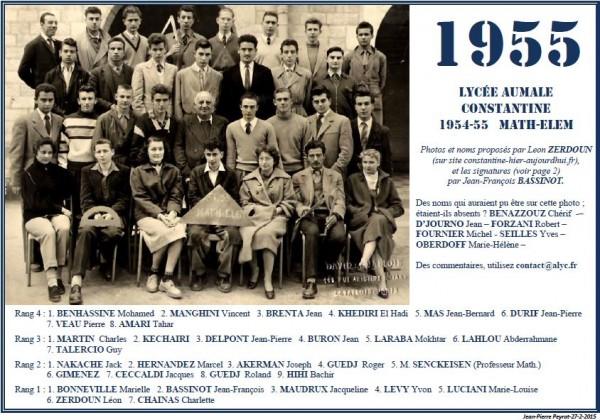 Une-Aumale-1954-55-Math-Elèm-Leon-Zerdoun-JFBassinot-