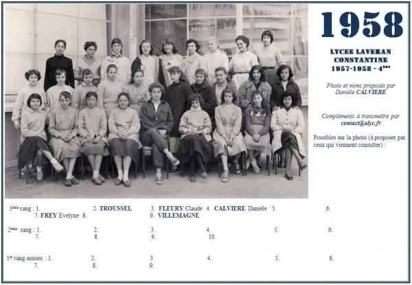 Une-Laveran-1957-58-4ème-Daniele CALVIERE-prépa