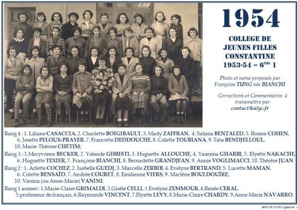 Une-Collège-Filles-1954-6e1-Francoise-TUNG-née BIANCHI