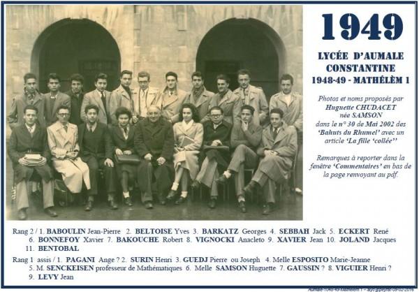 Une-A-1948-49-Mathelem-Huguette SAMSON