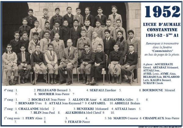 Une-A-1951-1952-5ème1-Censeur Martin