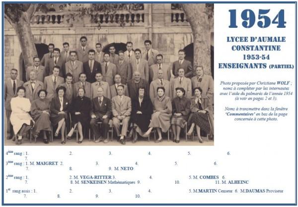 Une-A-1954-les professeurs-Christiane WOLF