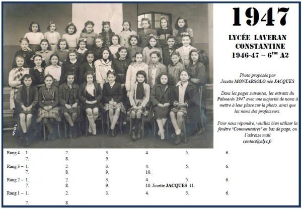 Une-L-1946-47-6eA2-Josette JACQUES
