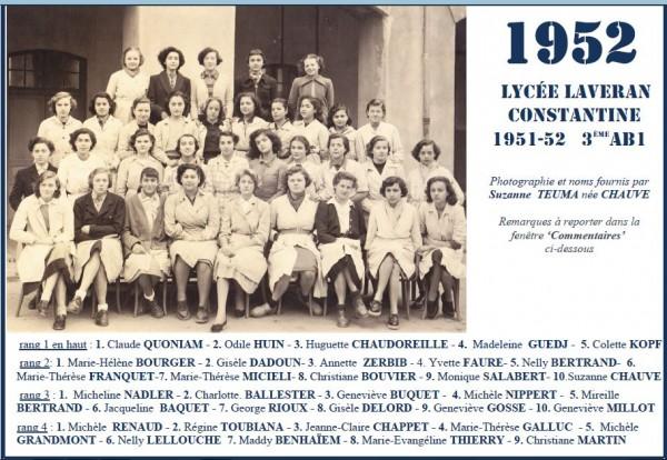 Une-L-1951-52-3eAB1-Suzanne CHAUVE