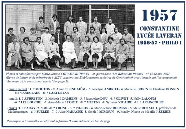 Une-Laveran-1956-57-Philo I-MJCouget-Rudman-Bahuts-45-