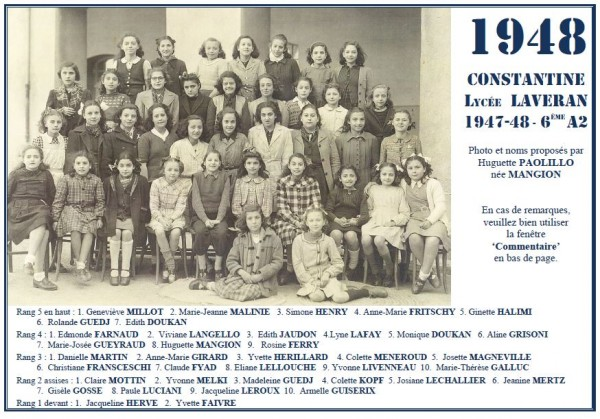 Une-Laveran-1947-48-6e A2-Huguette-Mangion-R