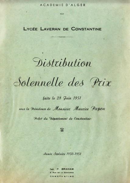 Une-Laveran-Palmarès-1951-MmeGUEDJ