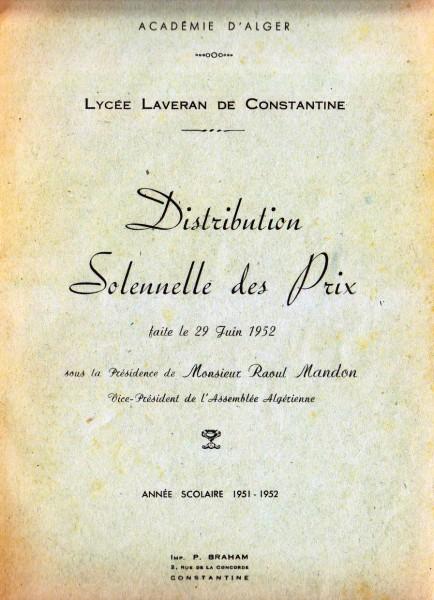 Une-Laveran-Palmarès-1952-MmeGUEDJ