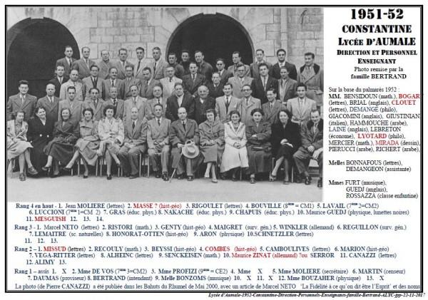 Une-Lycée Aumale-1951-52-Direction-Enseignants-