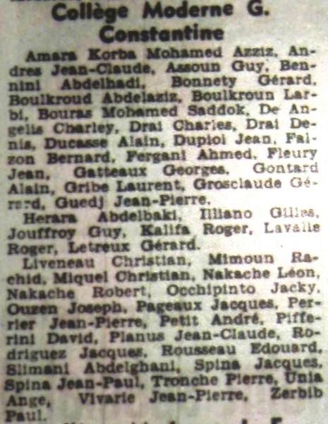 Dépêche-juin-1955-Admission-6èmeCollége garçons liste complémentaire