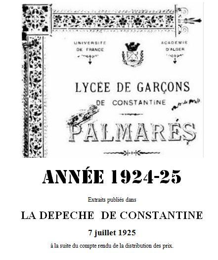 Une-Palmarès-Lycée-Garçons-1925-Dépêche- Constantine juillet 1925-2