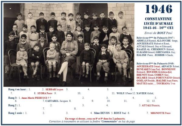 Une-Aumale-1945-46-10e-CE1-MmeDEVOS-Paul-ROST-