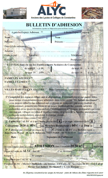 Bulletin Adhésion ALYC 2020 p1