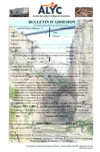 Bulletin Adhésion-Une 1